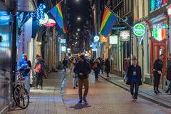 Amsterdam alley at night Royalty Free Stock Photo