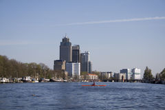 Amsterdam Amstel. View on the Amstel river in Amsterdam royalty free stock photos