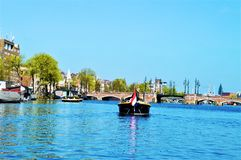 Amsterdam, Amstel river, Netherlands, Europe stock photo