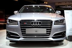 Audi S8 car. AMSTERDAM - APR 16, 2015: Audi S8 car at the Amsterdam AutoRAI 2015 Motor Show Royalty Free Stock Images