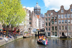 AMSTERDAM - APR 27: People celebrating Kings Day in Amsterdam on Stock Photos