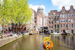 AMSTERDAM - APR 27: People celebrating Kings Day in Amsterdam on Stock Images