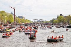 AMSTERDAM - APRIL 30: Celebration of queensday on April 30, 2012 Stock Photos