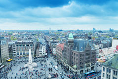 AMSTERDAM - APRIL 15, 2015: Aerial view of tourists in Dam Squar Royalty Free Stock Images