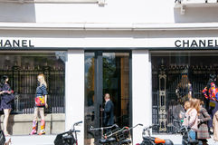AMSTERDAM-APRIL 30: Chanel store on the P.C.Hooftstraat luxurious shopping street on April 30,2015 in Amsterdam. Stock Image