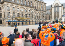 AMSTERDAM - APRIL 30: City natives and tourists celebrate Queen' Royalty Free Stock Photo