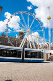 AMSTERDAM-APRIL 30: Dam Square Royal Palace on the background on April 30, 2015 in Amsterdam, Netherlands. Stock Image