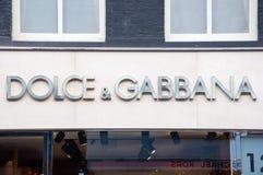 30 Amsterdam-APRIL: Dolce & Gabbana-uithangbord op P C Hooftstraat het winkelen straat op 30,2015 April Royalty-vrije Stock Foto