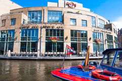 AMSTERDAM-APRIL 30: Famous Hard Rock Cafe on the Singelgrachtkering Canal on April 30,2015. Royalty Free Stock Images