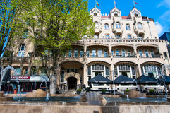 AMSTERDAM 30. APRIL: Fassade des amerikanischen Hotels, am Ort bekannt als das Hotel Americain 30,2015 im April, die Niederlande Stockbild