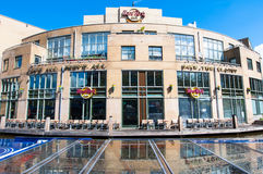 AMSTERDAM-APRIL 30: Hard Rock Cafe on the Singelgrachtkering Canal in the midday on April 30,2015. Royalty Free Stock Images