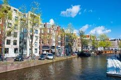 30 Amsterdam-APRIL: Het Prinsengracht-kanaal (het Kanaal van de Prins) op 30,2015 April Stock Fotografie
