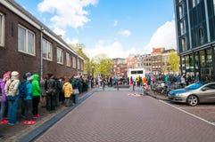 30 Amsterdam-APRIL: Kaartje-rij aan Anne Frank House Museum op 30,2015 April Stock Foto
