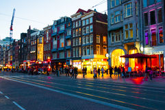 AMSTERDAM-APRIL 27: Nightlife on Rokin street during on April 27,2015 in Amsterdam. Royalty Free Stock Photos
