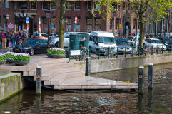 AMSTERDAM-APRIL 30: One point of the Homomonument by Karin Daan on April 30,2015, the Netherlands. Royalty Free Stock Images