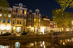 AMSTERDAM-APRIL 29: Red light district at night on April 29, 2015. Stock Image