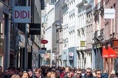 AMSTERDAM-APRIL 30: Shopping on Kalverstraat street on April 30,2015, the Netherlands. Stock Images