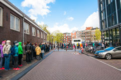 AMSTERDAM-APRIL 30: Ticket-queue to the Anne Frank House Museum on April 30,2015. Stock Photo