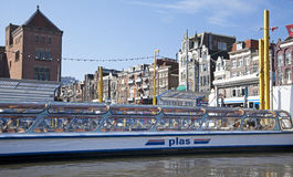 Amsterdam architecture from boat stock image