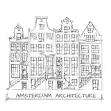 Amsterdam Architecture Drawing. Hand Drawn Detail Amsterdam Architecture Drawing. Black on White Stock Images