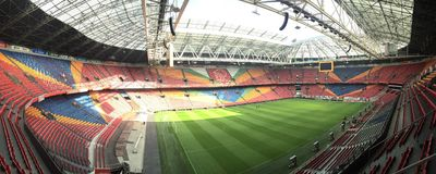Amsterdam ArenA. Panoramic view of the Amsterdam ArenA inside Royalty Free Stock Image