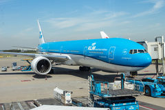 AMSTERDAM - August 3, 2014: KLM Boeing 737 at. The airport handles over 45 million passengers per year with almost 100 airlines flying from here Stock Photo