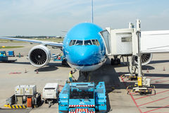 AMSTERDAM - August 3, 2014: KLM Boeing 737 at. The airport handles over 45 million passengers per year with almost 100 airlines flying from here Royalty Free Stock Image
