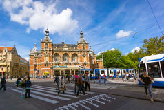 Amsterdam. AUGUST 29: Old city landscape at daytime on August 29, 2014 in , Leidseplein Royalty Free Stock Photo