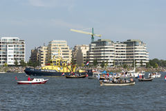 AMSTERDAM- AUGUST 23 : Parade of boats at Sail 2015 in Amsterdam Royalty Free Stock Image