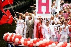 Amsterdam-Bürgermeister während der Kanal-Parade Lizenzfreie Stockfotografie