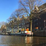 Amsterdam on. Beautiful houseboats in Amsterdam Royalty Free Stock Photo