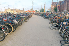 Amsterdam. Bicycle parking in the city center. Royalty Free Stock Photo