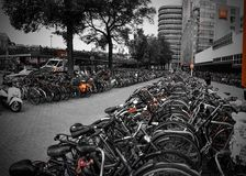 Amsterdam Bicycle Parking Garage. Bike parking at Amsterdam's Centraal Station. Environmentally friendly commuting royalty free stock photos
