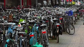 Amsterdam bicycle parking lot City of Amsterdam stock video footage