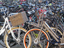Amsterdam Bicycle Parking Lot. Royalty Free Stock Image