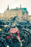 Amsterdam Bicycles parked on street royalty free stock photography