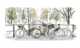 Amsterdam bicycles vector illustration sketch watercolor sketch royalty free illustration