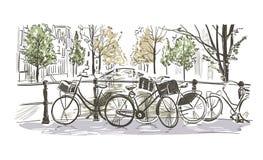 Amsterdam bicycles vector illustration sketch watercolor sketch royalty free illustration