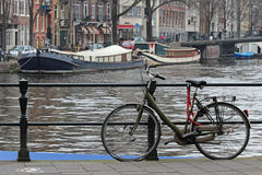 Amsterdam Bike and Boats Royalty Free Stock Photos
