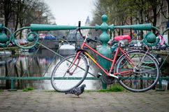 Amsterdam bike on a bridge. One of the many bicycles in the streets of Amsterdam, Holland Royalty Free Stock Images