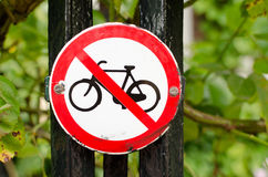 Amsterdam. Bikes prohibited sign in Amsterdam Royalty Free Stock Images