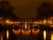 Amsterdam bis zum Nacht Lizenzfreies Stockfoto