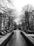 Amsterdam blanco y negro Imágenes de archivo libres de regalías