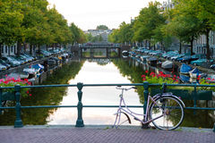 Amsterdam bridge bicycle Royalty Free Stock Photo