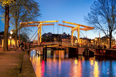 Amsterdam with bridge in the evening,  Holland Stock Photography