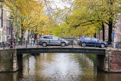 Amsterdam bridge. Bridge over Leidsegracht street in Amsterdam, Netherlands Royalty Free Stock Photo