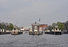 Amsterdam bridges and sluice Royalty Free Stock Photography