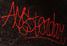 Amsterdam. Bright red Amsterdam graffiti in Amsterdam, Netherlands Stock Image