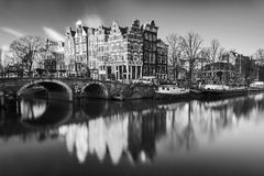 Amsterdam Brouwersgracht BW royalty free stock photography