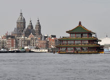 Amsterdam buildings 3. These are historical Amsterdam buildings. View from the sea, channel. tourism, Europe, Amsterdam, historical buildings Stock Photos